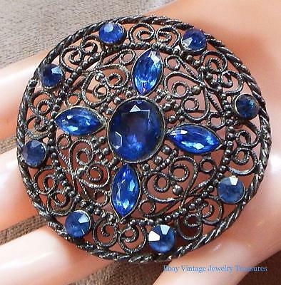 Antique Art Deco Blue Glass Rhinestone Pot Metal Filigree Pin