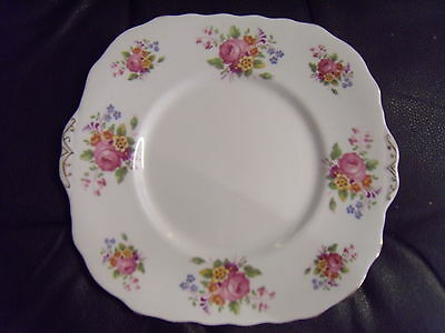 Vintage 50s Melba bone china C6 square one dessert plate/ Made in England 9 x 8