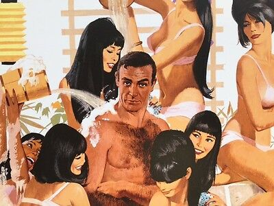 Bathtube Artwork Robert McGinnis YOU ONLY LIVE TWICE James Bond with asian girls