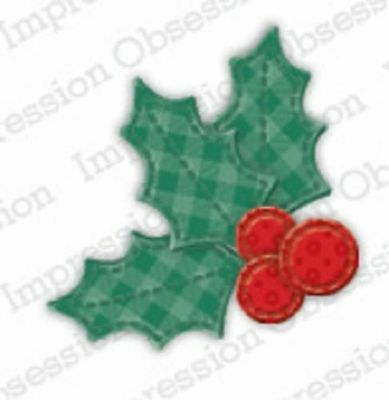 Impression Obsession PATCHWORK HOLLY Die (484-C) Christmas
