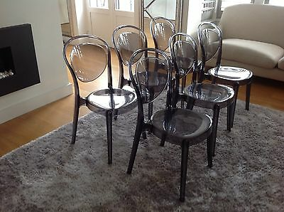 Six Calligaris Parisienne Dining Chairs In Smoke Grey