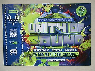 Unity Of Sound  @ The Venue & Attic Torquay (Mint) A5 Rave Flyers