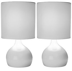 Pair of Modern White Touch Table Bedside Lounge Lamp Lights with Shades NEW