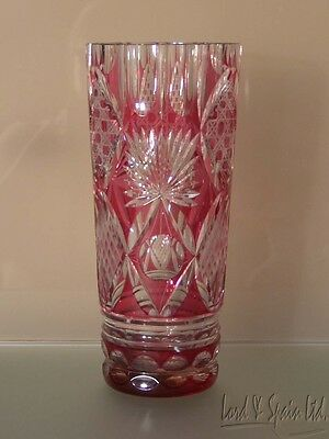 "Vintage Cranberry/Ruby Cut to Clear Faceted 9 1/2"" Vase"