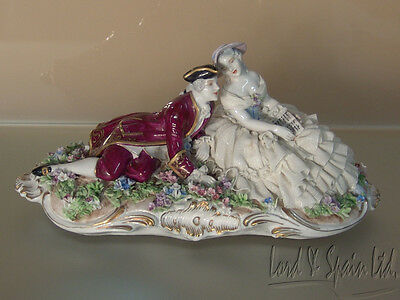 Luigi Fabris Italy Dresden Lace Courting Couple in Flower Garden Figurine