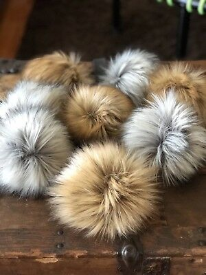 Faux Fur Pom Poms Black Grey White Husky Raccoon Fox Wolf Pink for Hats