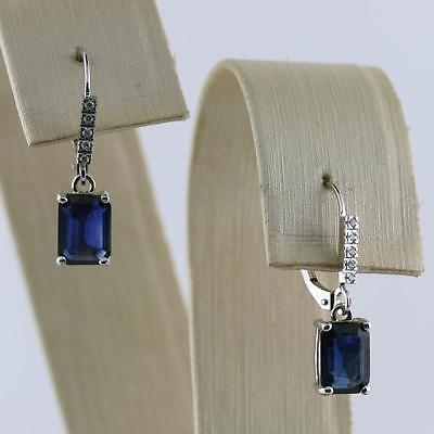 3.30 cwt Natural Sapphire and Diamond 10k White Gold Drop Dangle Earrings NEW