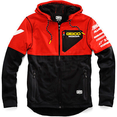 New 100% Geico Honda Motocross Technique Soft Shell Casual Jacket Black Large