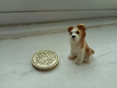 Collie Puppy - Beautiful  Miniature Pottery Fawn/brown & White Collie Pup