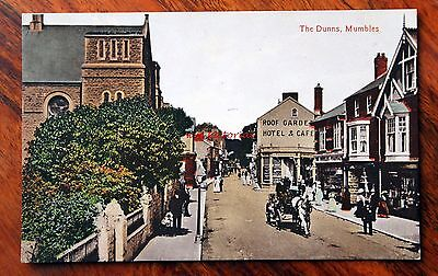 V. Rare Posted 1913 Printed Colour Postcard Wales Mumbles The Dunns Hotel Horse