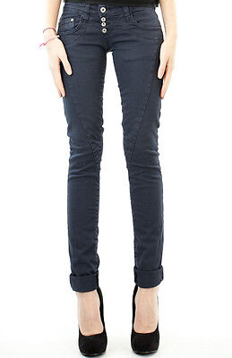 PLEASE Jeans P68 Slim Fit Navy Donna Made in Italy NUOVO