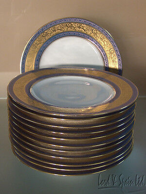 """12 Hutschenreuther Blue & Gold Encrusted 10 7/8"""" Dinner/Service Plates"""