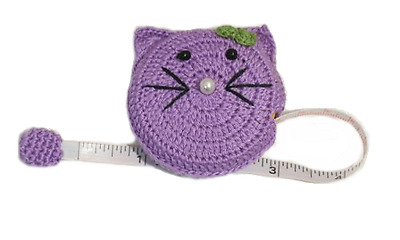 Fun Retractable Tape Measure Cute Cat Design Knitting Sewing - 60in / 150cm long