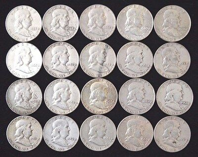 Roll of (20) Franklin Half Dollars U.S.90% Silver Coins $10 FACE VALUE NO RES.!!