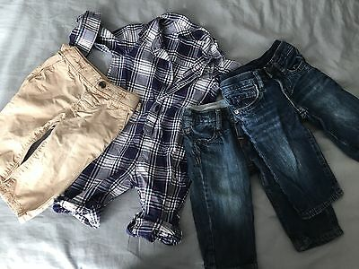 lot of baby gap boys clothes jeans romper 6-12 months spring