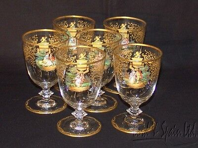 6 Vintage Czech/Bohemian Hand Enameled Courting Couple Scene/Gold Goblet Glasses