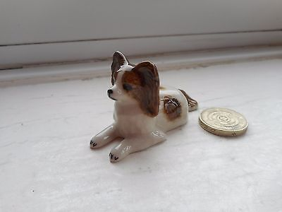 Papillon - Beautiful Miniature Pottery  Papillon Dog -  Resting, Brown & White