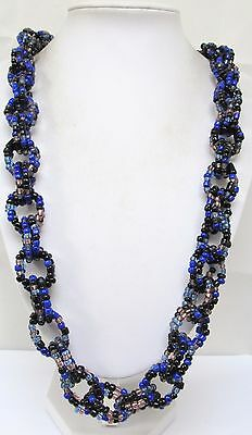 Beautiful wide vintage very long glass bead necklace