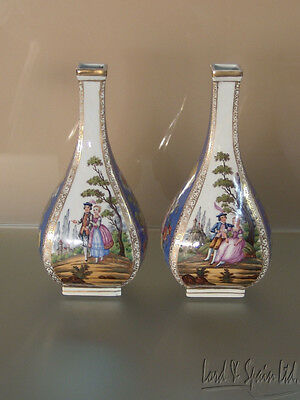 Pair Early Carl Thieme Dresden Hand Painted Floral & Courting Couple Vases