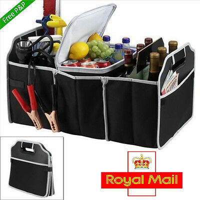 2 IN 1 CAR BOOT ORGANISER SHOPPING HEAVY Tidy COLLAPSIBLE COOLER STORAGE BAG UK