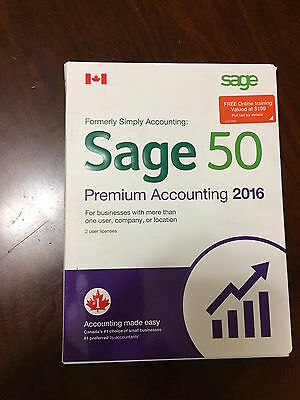 Sage 50 Premium Accounting 2016  (Canadian) Full Retail Box  2 USERs