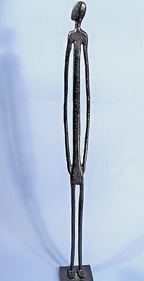 "Giacometti Type Tall Man Sculpture 24"" Bronze Statue Mid-Cent. Modern Brutalist"
