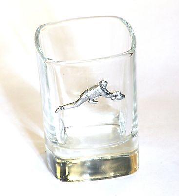 Curler Pewter Emblem  Crystal Shot Tot  Glass Ideal  Present Gift Award