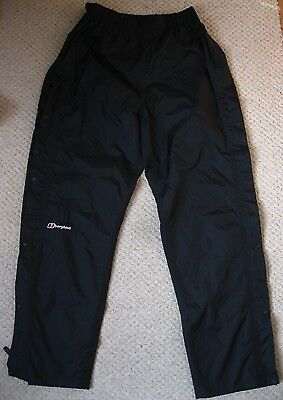 Berghaus Aquafoil Black Venting Waterproof Over Trousers Size Large Hiking ETC.