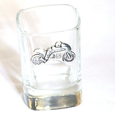 Motorbike #2  Pewter Emblem Crystal Shot Tot Glass Ideal Motorcycling Gift