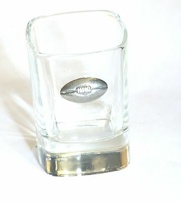 Rugby Ball American Football Pewter Emblem Crystal Shot Tot Glass Ideal Gift