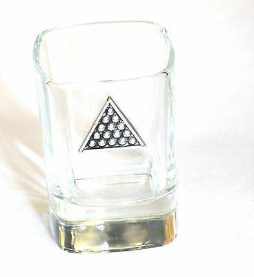 Snooker Pool Triangle  Pewter Motif Crystal Shot Tot Glass Ideal Gift  Present