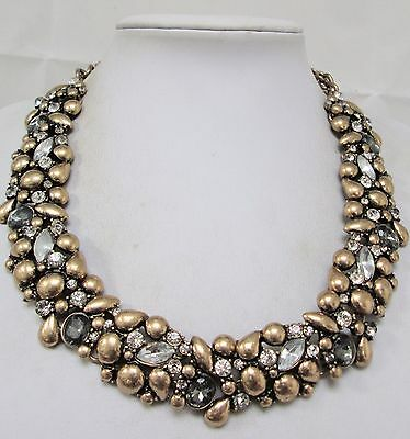 Gorgeous wide vintage gold metal ornate collar necklace