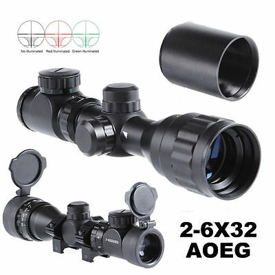 2-6X32AOEG Red/Green Rangefinder Rifle Scope W/Mount and Sunshade Set 4 Hunting