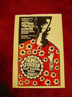 Mungo Jerry-  Cardiff Concert Poster  1971 Students Union