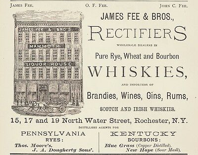 1874 James Fee Brothers Distillers, Rochester, New York Whiskey Advertisement