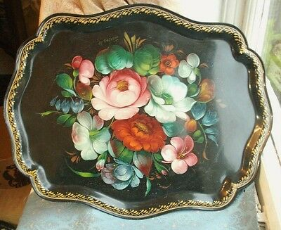 Old Vintage Russian Hand Painted Floral Tin Lacquer signed Tray Painting Russia