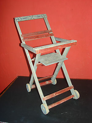 Vintage French Wooden Dolls Chair Original Stenciled Paint
