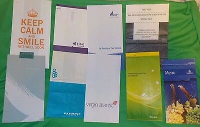 8 Airline Sick Bags & Emirates Menu Inc Rare Nato Sick bag