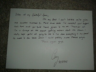 Very Rare Gary Barlow C5 Mail Out Letter from Record Company Database 1997