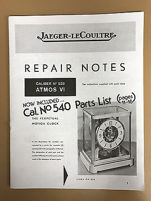 Jaeger LeCoultre Atmos Clock Repair Manual-Caiber 528-Hard to Find!