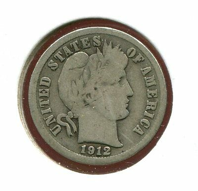 1912 D Barber/Liberty Head 90% Silver Dime  (Combined Shipping $2.95)