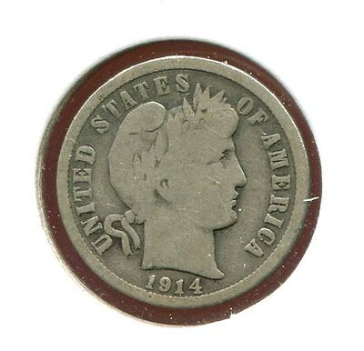 1914 D Barber/Liberty Head 90% Silver Dime  (Combined Shipping $2.95)