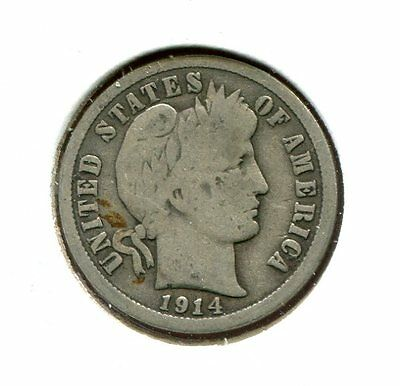 1914 P Barber/Liberty Head 90% Silver Dime  (Combined Shipping $2.95)