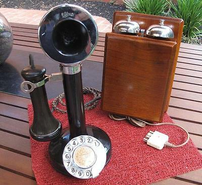Nickel Plated Australian Candlestick Phone with Walnut Wooden Bell Set c.1920's