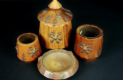 4 Turned & Carved Wooden Pots & Dish with Brass Studs & Flower Studs Vintage