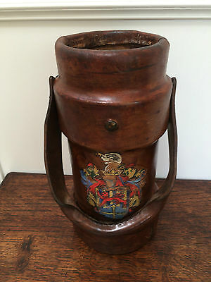 "Antique Vintage English Leather Painted Cordite Powder 13"" Bucket Cane Stand"