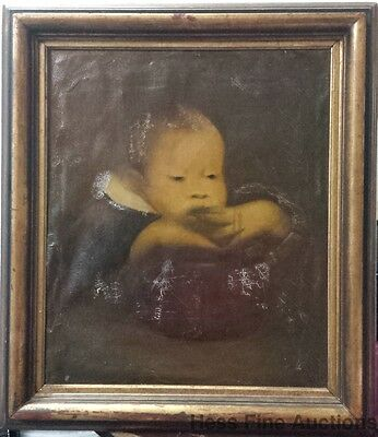 Antique Eugene Carriere Beaux Arts Symbolist Child Baby Oil Painting