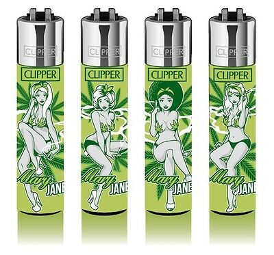 4 Clipper Lighters - Mary Jane Weed - Rare Collection - x4 pcs Lighter