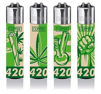 4 x Clipper Lighters - 420 Weed Design - Collectable Smoking Set x4 pcs