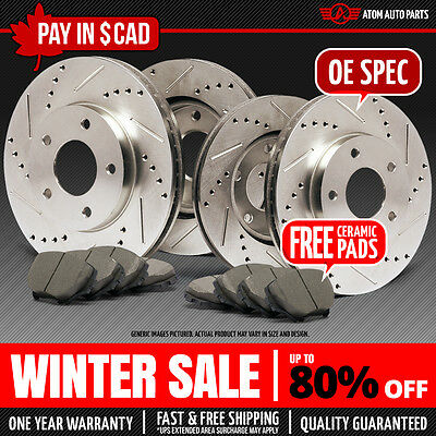 1990 1991 1992 1993 Acura Integra Slotted Drilled Rotor & Ceramic Pads F+R